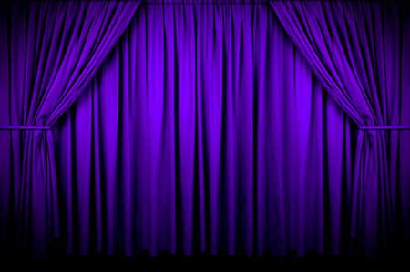 fading: Large purple curtain with spot light and fading into dark. Stock Photo