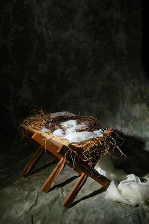 jesuschrist: The story of Christmas represented by the birth of Jesus and his death on the cross.