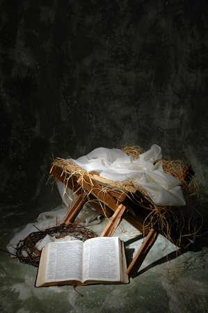 The story of Christmas metaphor with open Bible to John 3:16