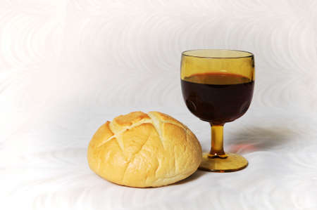 eucharistie: Communion repr�sent�e par le pain et le vin