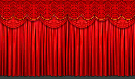 stage background: Red stage curtain with arch entrance