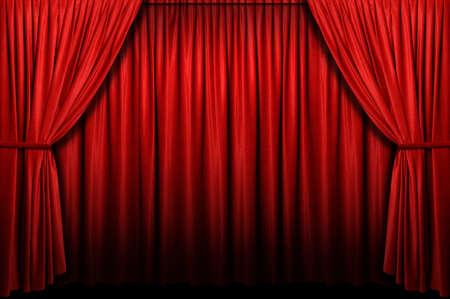 アーチの入り口でのレッド ステージ カーテン