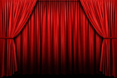 curtain theatre: Red stage curtain with arch entrance