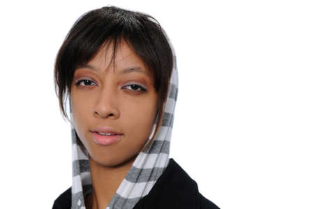 Portrait of young African American woman with hood isolated over a white background. photo