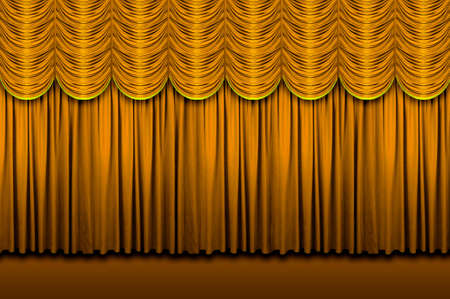 Large golden stage curtains with border Stock Photo - 7751807