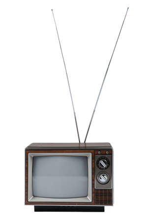 Vintage TV with antenna isolated over a white background. Stock Photo - 7751817