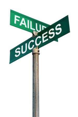 Mislukking en Succes Straatnaamborden Stockfoto