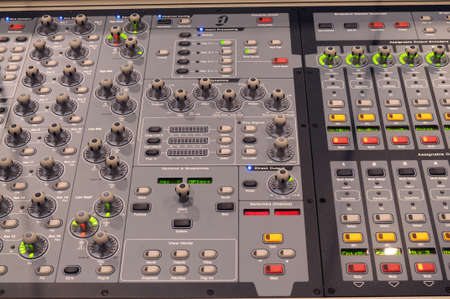 Professional digital music mixer console Stock Photo