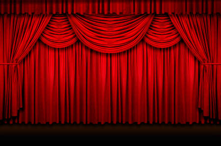 Large red stage curtains over wooden floor photo