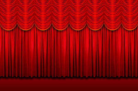Large red stage curtains with yellow border Stock Photo - 7764593