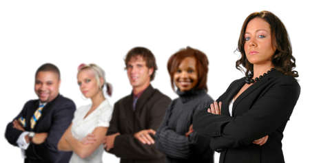 Business team concept with different men and women isolated over a white background. photo