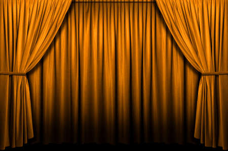 theater background: Gold stage curtain with light and shadows Stock Photo
