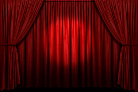 spotlight background: Red stage curtain with spotlight