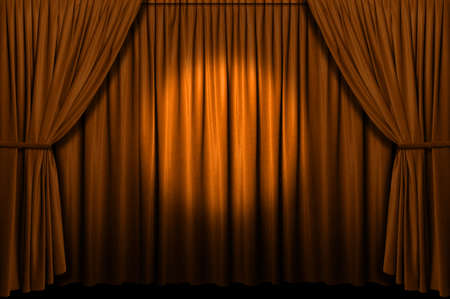 Gold stage curtain with spotlight photo