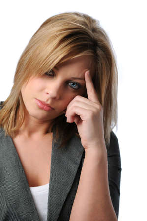 Young attractive woman stressed with hand on face Stock Photo - 7764543