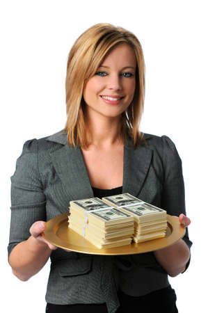 playing with money: Beautiful young woman with money on a platter
