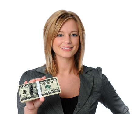 Beautiful business woman holding money and smiling photo