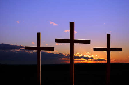 tortured: Colorful sunset with three crosses