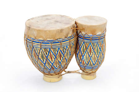 adorned: African bongo drums adorned in typical patterns