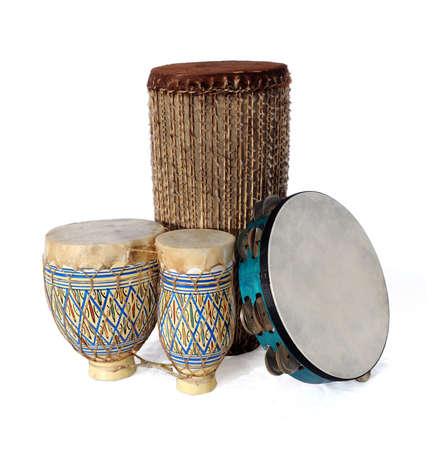 Bongos africanos y tambourin  Foto de archivo