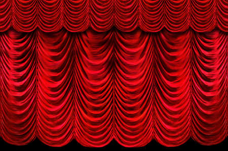 Rode podium gordijnen  Stockfoto