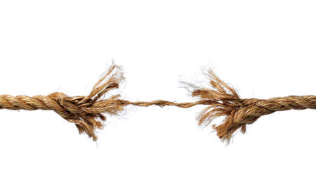 rope background: Frayed rope about to break isolated over a white background Stock Photo