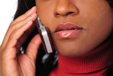 Close-up of African American woman talking on a cell phone