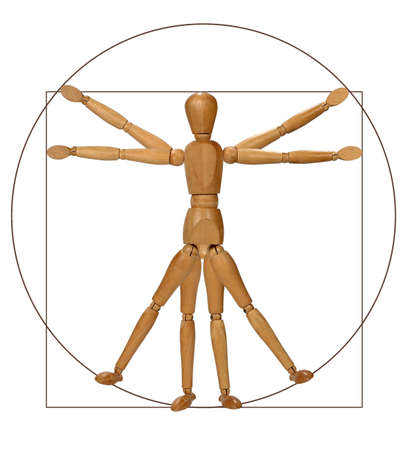 Modern graphical rendition of the Vitruvian man photo