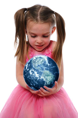 Little girl holding the planet earth isolated over a white background Stock Photo - 7793983