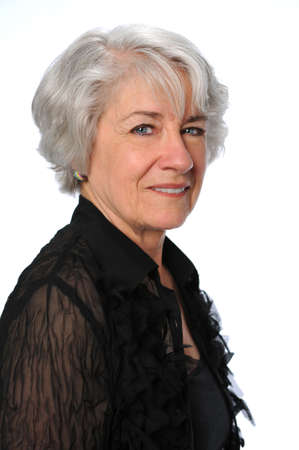 Portrait of attractive senior citizen woman smiling photo