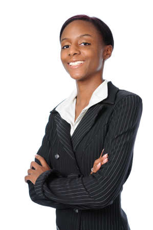 Beautiful young African American business woman smiling Stock Photo - 7793952