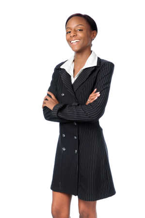 Young African American woman smiling dressed in business attire photo