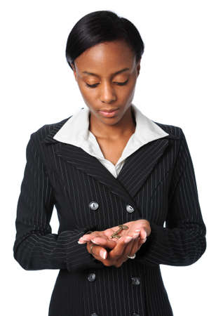 Beautiful African American businesswoman holding key Stock Photo - 7793986