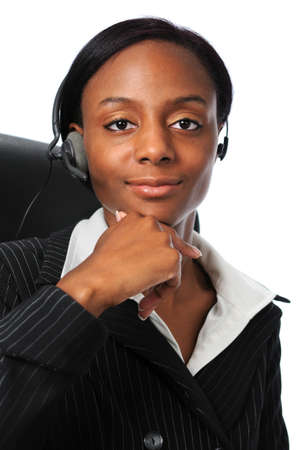 Portrait of young businesswoman with phone head set Stock Photo - 7793977