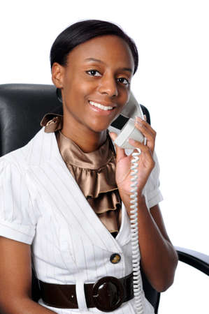 Young African American woman talking on the phone Stock Photo - 7793973