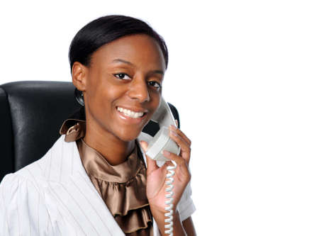 Portrait of young businessewoman talking on the phone Stock Photo - 7793888