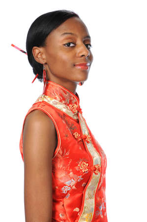 Young African American woman dressed in Geisha dress smiling Stock Photo - 7793980