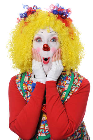 face close up: Clown expressing surprise isolated over a white background Stock Photo
