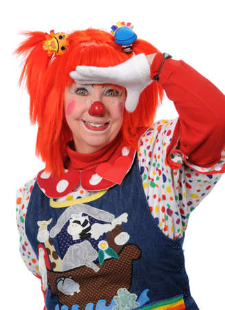 Clown looking ahead gesturing with hand photo