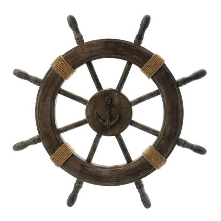 anchors: Vintage Ship Wheel isolated over a white background