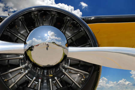 chrome: Propeller and engine of vintage airplane