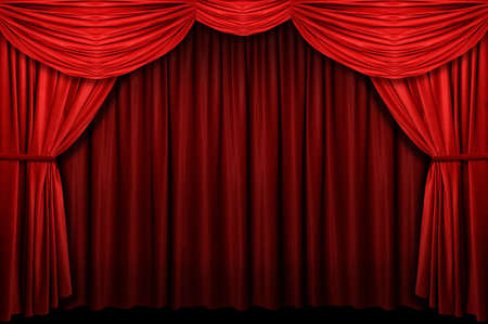 cortinas rojas: Cortina Roja etapa con arco de entrada Foto de archivo