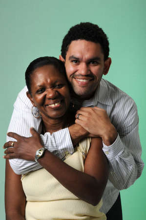Mother and son embracing photo