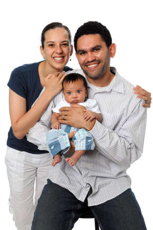 Family smiling isolated over a white background Stock Photo - 7803600