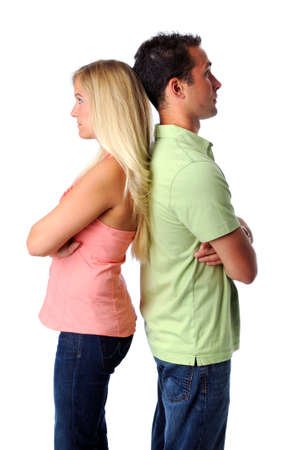 relational: Young woman and man having relational problems