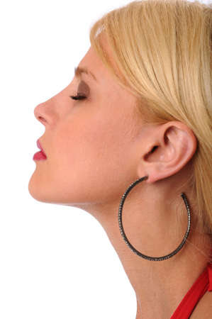 Profile of beautiful woman with eyes closed photo