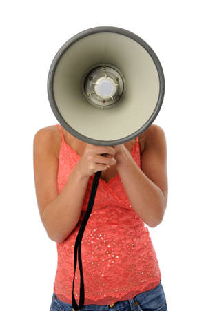 Woman using a megaphone isolated over a white backgorund photo
