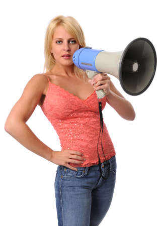 Attractive young woman with megaphone isolated over white photo