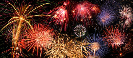 extra large: Fireworks of different colors over a night sky - Extra large size