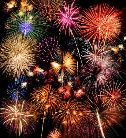 extra large: Colorful fireworks over a night sky - EXTRA LARGE Stock Photo